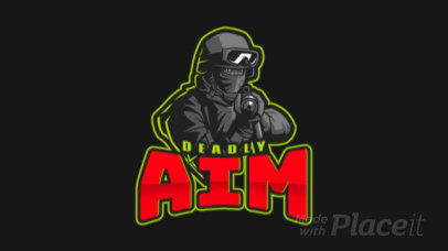 Animated Gaming Logo Maker Featuring a Deadly Sniper Character Illustration 2449o