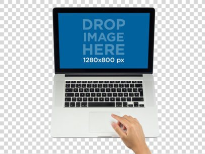 Overhead Shot of Macbook Used by a Woman Mockup a11639