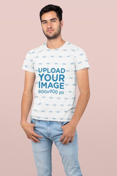 Sublimated Tee Mockup Featuring a Man Standing at a Studio 31264