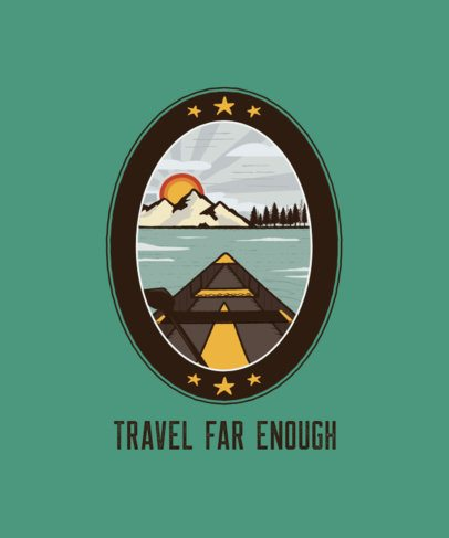 T-Shirt Design Template with a Quote and a Camping Patch 207d-el1