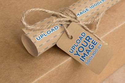 Mockup Featuring a Cardboard Brand Tag and a Rolled Kraft Paper 1299-el1