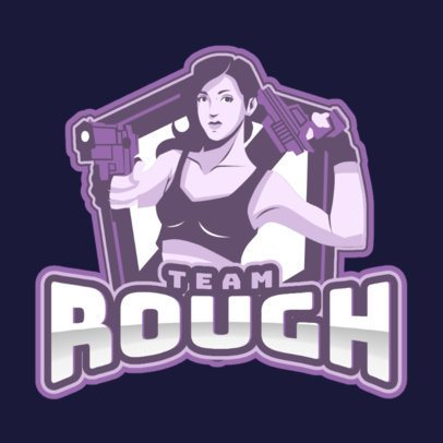 Gaming Logo Maker Featuring an Illustrated Female Shooter 1744f-2858