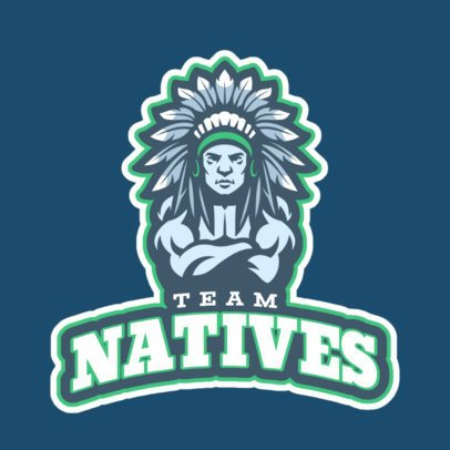 Sports Logo Generator Featuring a Tribal Chief Clipart 29p-2858