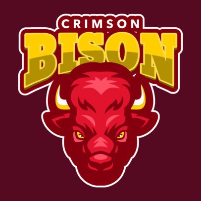 Sports Logo Maker Featuring an Aggressive Bison Graphic 120t-2856