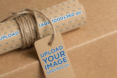 Mockup of a Cardboard Label Tag Placed on a Kraft Paper Roll 1303-el1