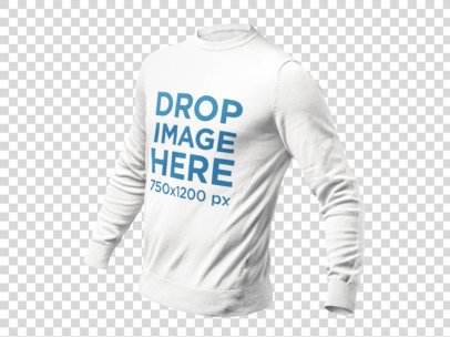 Invisible Model Mockup of a Long Sleeve Tee Over a PNG Background a9138