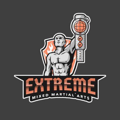 Sports Logo Maker Featuring an MMA Fighter Holding a Championship Belt 2848c