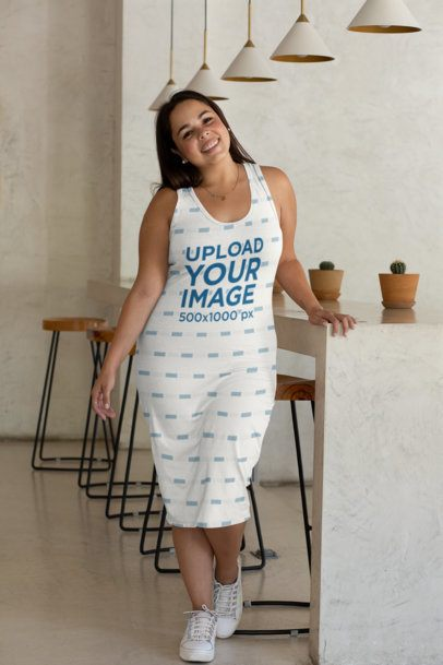 Plus Size Mockup Featuring a Woman in a Racerback Dress 31066
