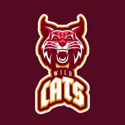 Mascot Logo Maker Featuring an Aggressive Wildcat Illustration 21v-2857