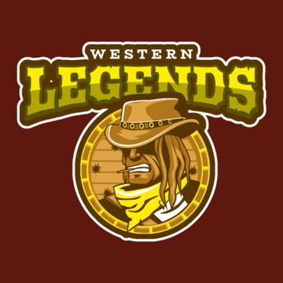 Western-Themed Gaming Logo Maker Featuring a Cowboy Clipart 1869n-2857