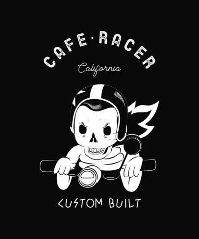 Café Racer T-Shirt Design Generator Featuring a Skeleton Illustration 2134e