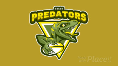 Animated Rugby Logo Maker with a Velociraptor Illustration 120t-2862