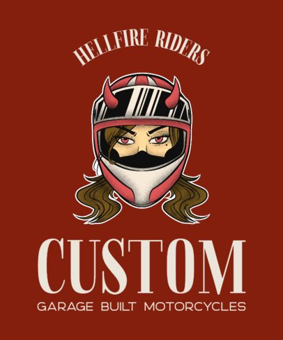 Biker Club T-Shirt Maker with a Female Biker 2132c
