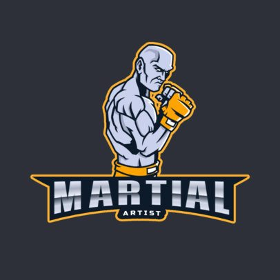 Sports Logo Template Featuring a Martian Arts Fighter with Gloves 2850j
