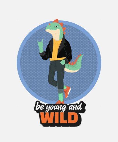 T-Shirt Design Template Featuring a Rebel Lizard Cartoon 2136a