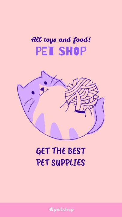 Pet Shop Instagram Story Generator with a Kitten Illustration 2145d