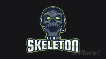 Animated Gaming Logo Generator Featuring a Spooky Skeleton Illustration 2455ii-2858