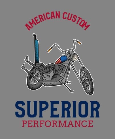Biker Club T-Shirt Template with a Motorcycle Clipart 2132f
