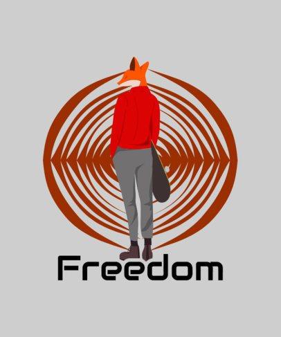 Streetwear T-Shirt Design Template Featuring a Skater Fox Cartoon 2136h