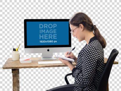 Mockup of an iMac on a Woman's Desk a11693
