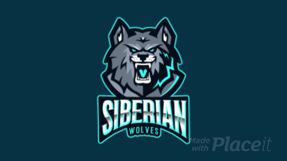 Animated Team Logo Maker of a Ferocious Wolf 383k-2332