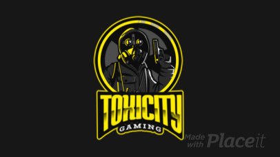 Gaming Logo Template Featuring an Animated Gunman Wearing a Respirator Mask 383n 2290