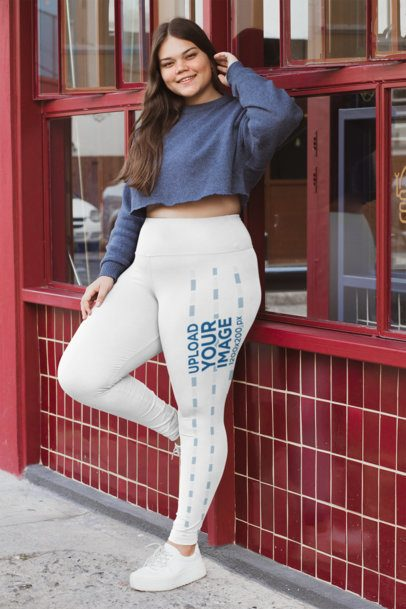 Mockup of a Curvy Woman Wearing a Sweater and  High Waisted Leggings 30913