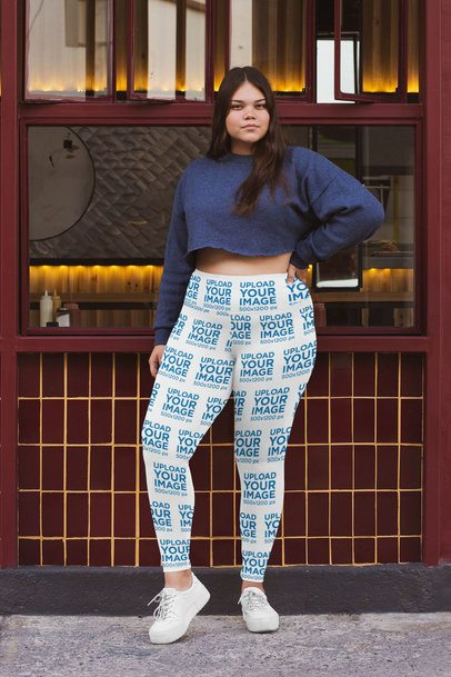 Plus Size Mockup of a Woman with Sublimated Leggings on the Street 30912
