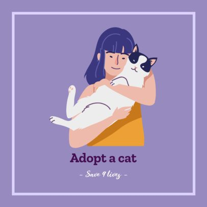 Facebook Post Template Featuring a Woman with Her Adopted Cat 2026h 2083