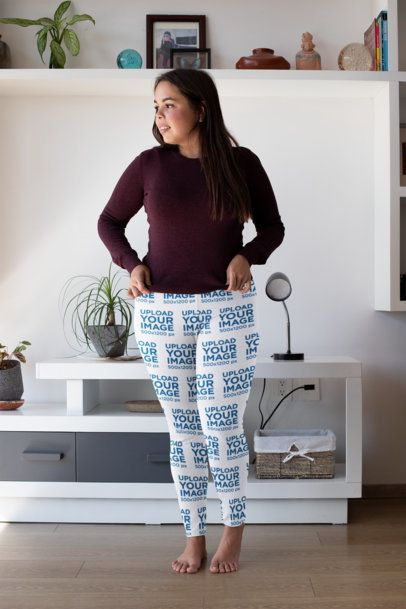 Plus Size Mockup of a Barefoot Woman Wearing Leggings 31031