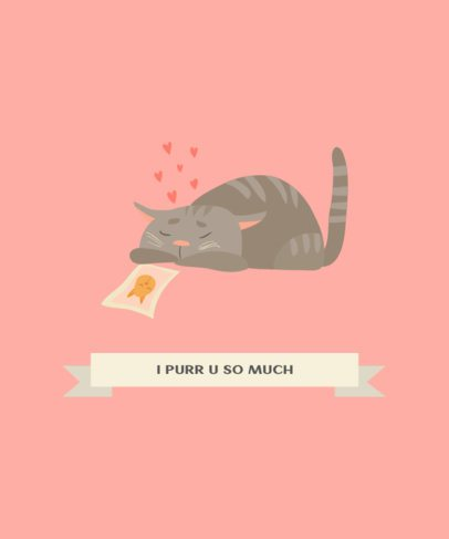 T-Shirt Design Creator with an Illustration of a Cat in Love 217c-el1