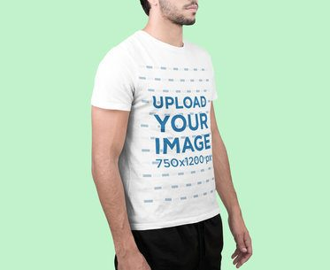 T-Shirt Mockup of an Anonymous Man at a Studio 2370-el1