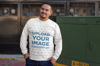 Mockup of a Smiling Man Wearing a Plus Size Crewneck Sweatshirt 31056