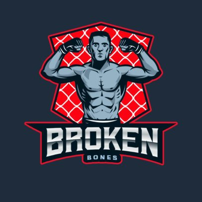 Sports Logo Template Featuring an MMA Muscled Athlete 2852i