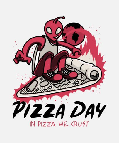 T-Shirt Design Template Featuring an Alien Surfing on a Pizza Slice 21o-35-el1