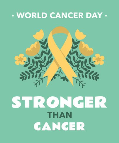 World Cancer Awareness Day T-Shirt Design Template with a Positive Quote 2166h