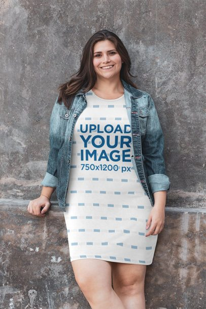 Mockup of a Happy Woman Wearing a Sublimated Shift Dress 30965