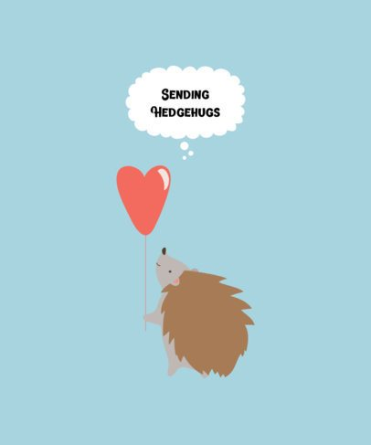 T-Shirt Design Maker Featuring a Hedgehog with a Hearth-Shaped Balloon 221a-el1