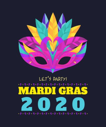 T-Shirt Design Maker with a Mardi Gras Mask Graphic 2169h