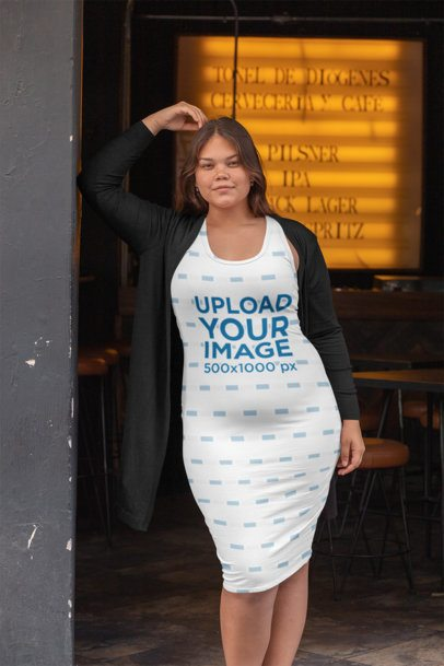 Mockup of a Woman Wearing a Plus Size Racerback Dress at a Restaurant 30909