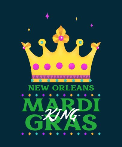 Mardi Gras T-Shirt Design Maker Featuring a Crown Graphic 2169c