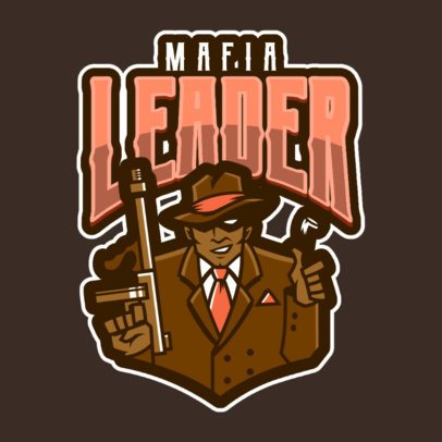 Mafia Logo Template for Gamers Featuring a Mobster Illustration 1869t-2883