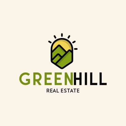 Real Estate Logo Template with a Landscape Clipart 597-el1