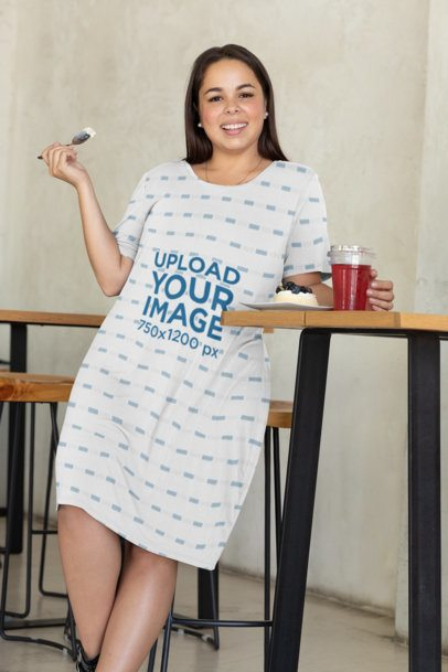 Plus Size Dress Mockup of a Happy Woman Tasting a Dessert 31070