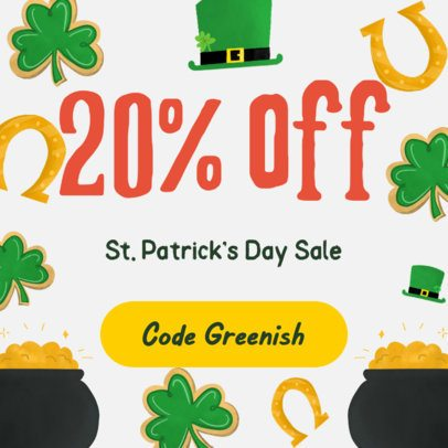Instagram Post Template for a St Patrick's Day Sale Post 628f-2179