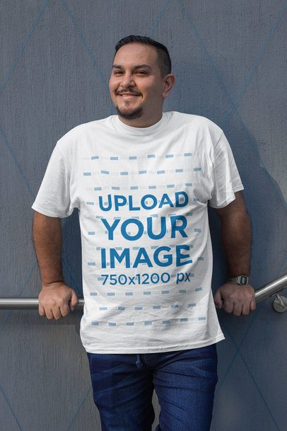 Mockup of a Smiling Man Wearing a Plus Size T-Shirt 31054
