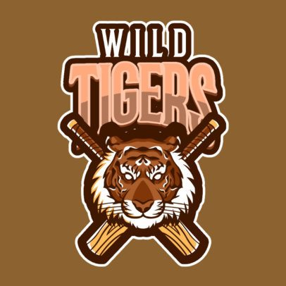 Cricket Team Logo Template Featuring an Aggressive Tiger's Face 1650f-2892
