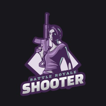 Battle Royale-Themed Logo Maker Featuring a Female Character Holding a Rifle 1847r-2883