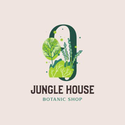 Botanical Shop Logo Template Featuring Plant Illustrations 2840b