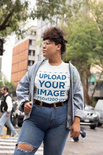 Mockup of a Curly-Haired Woman Wearing a Plus Size Tee 30885